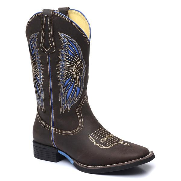 Bota Country Masculina Texana JM Country Couro Crazy Horse Chocolate e Napa Rio Azul Promoção
