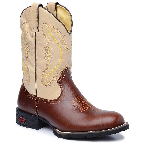 Bota Country Texana Masculina Couro Atlanta Café e Mustang Marfim