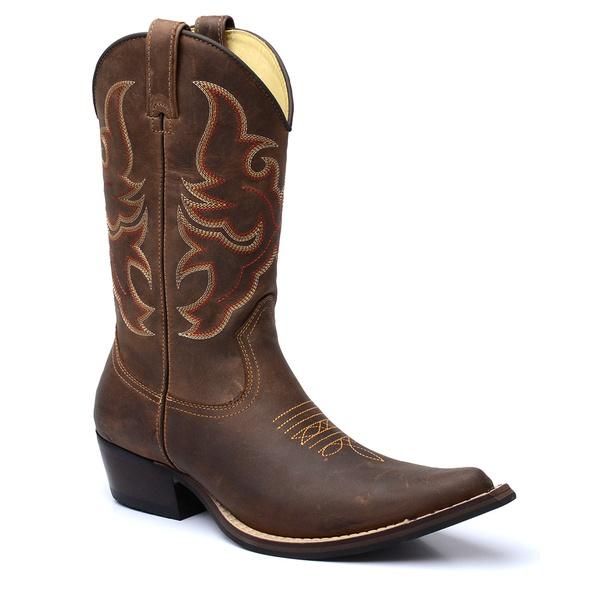 Bota Country Masculina Texana Bico Fino Couro Crazy Horse Café