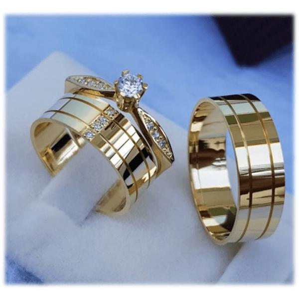 Kit Aliança de Casamento + Anel Solitário BH