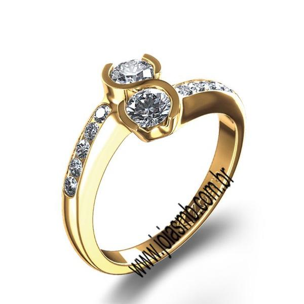 Anel de Noivado Dourados