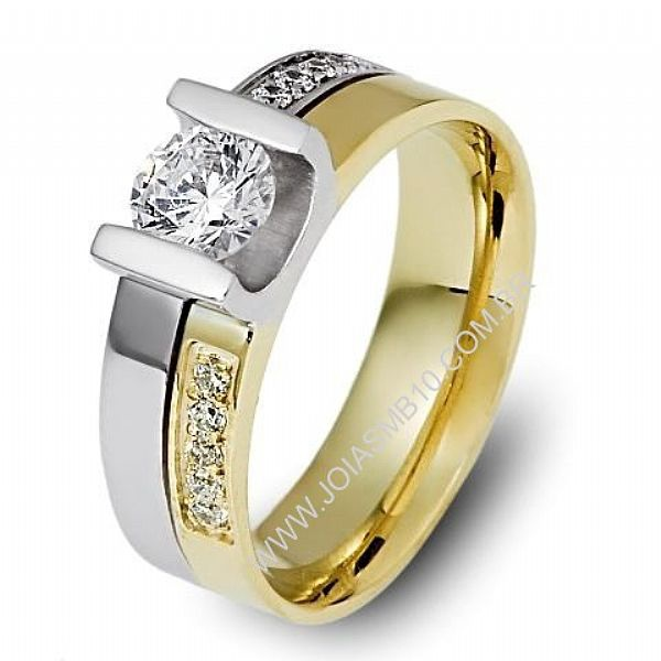 Anel Solitário de Diamantes DF