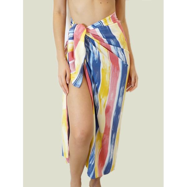 Canga Listrada Amarelo, Rosa e Azul - Amazona Beachwear