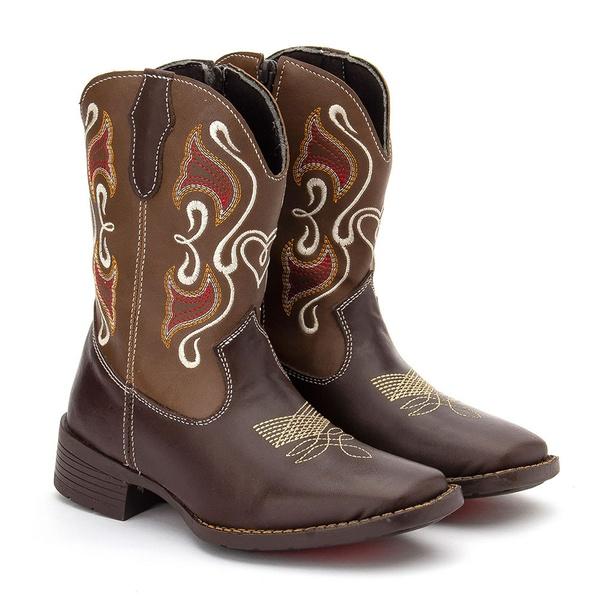 Bota Texana Feminina Infantil em Couro Marrom 7251 Kapell