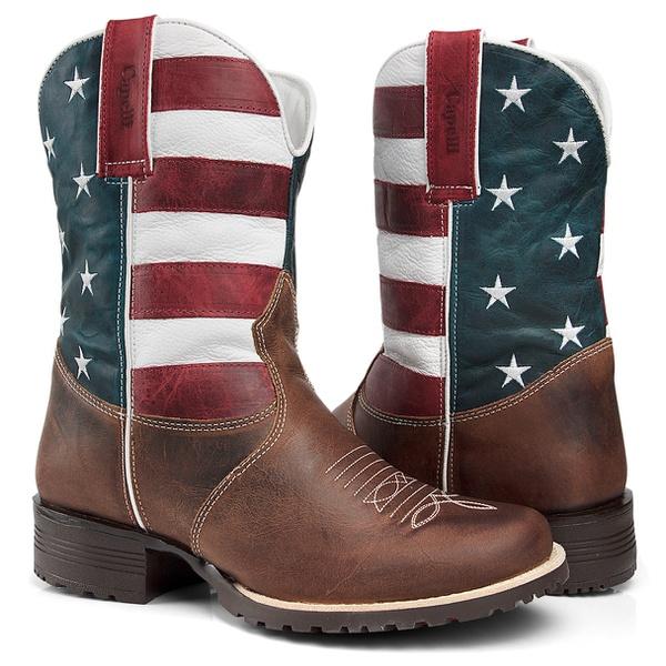 Bota Texana Masculino Cano Médio Em Couro Legítimo Detalhe Bandeira dos Estados Unidos Capelli