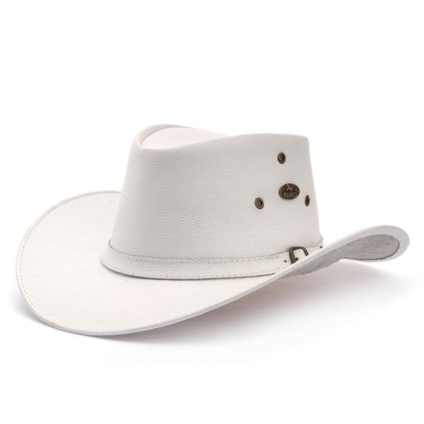 Chapéu Estilo Americano em Couro Legitimo Linha Texas Café Kapell