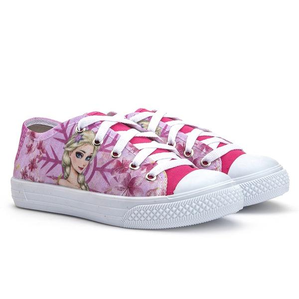 Tênis infantil para meninas Kapell, cor rosa, com silk personalizado de princesas