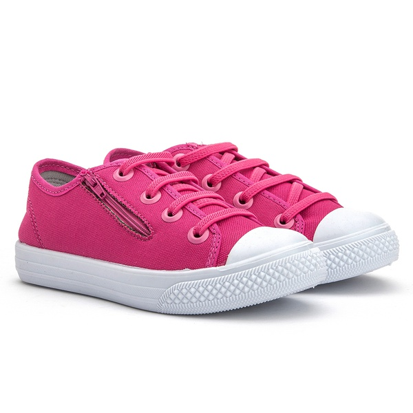 Tenis infantil para meninas, cor rosa e zíper na lateral