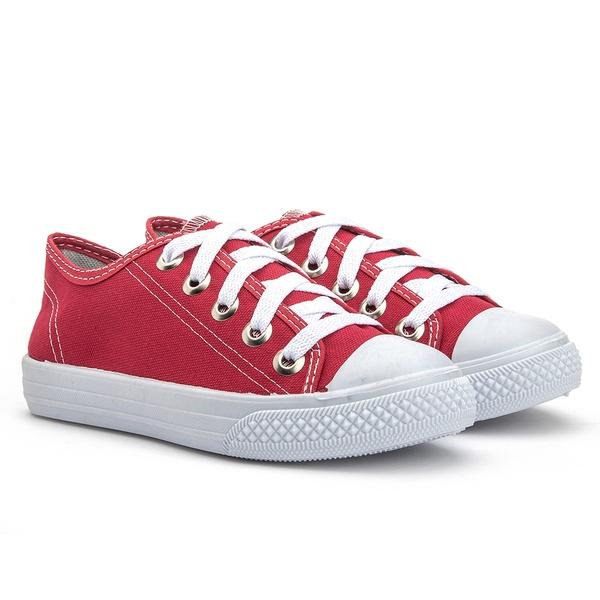 Tênis infantil unissex Kapell, cor vermelho, com solado branco em micro expandido garantindo conforto