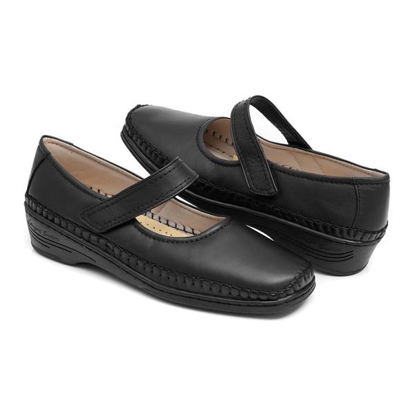 Sapato em Couro Preto Solado Anabela Estilo Boneca Feminina Linha Lady Comfort