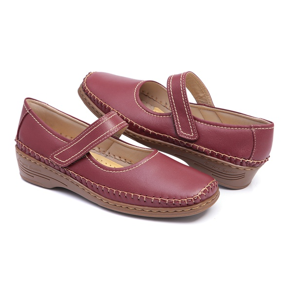 Sapato Feminino Estilo Boneca Solado Anabela em Couro Vermelho Linha Lady Comfort