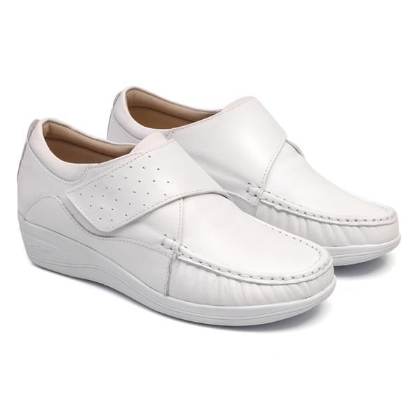 Sapato Solado Anabela em Couro Branco Fechamento com Velcro feminino Linha Lady Comfort