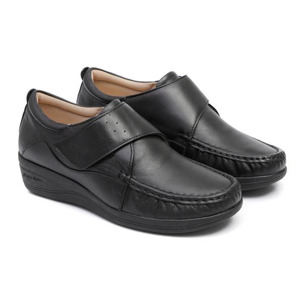 Sapato Fechamento com Velcro em Couro Preto Feminino Linha Lady Confort Solado Anabela