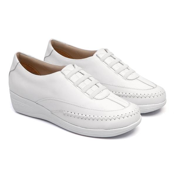 Sapato de Amarrar Solado Anabela feminino em Couro Branco Linha Lady Comfort