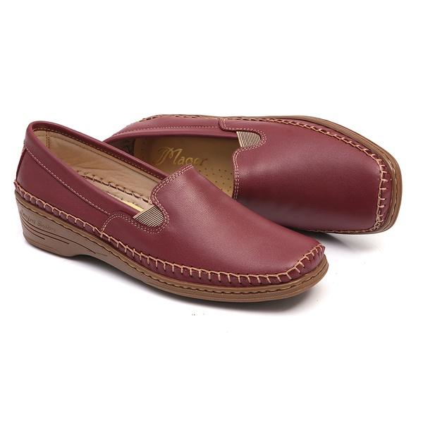Sapato em Couro Vermelho Slip On Feminino Solado Anabela Linha Lady Comfort
