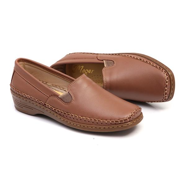 Sapato em Couro Whisky Slip On Feminino Solado Anabela Linha Lady Comfort