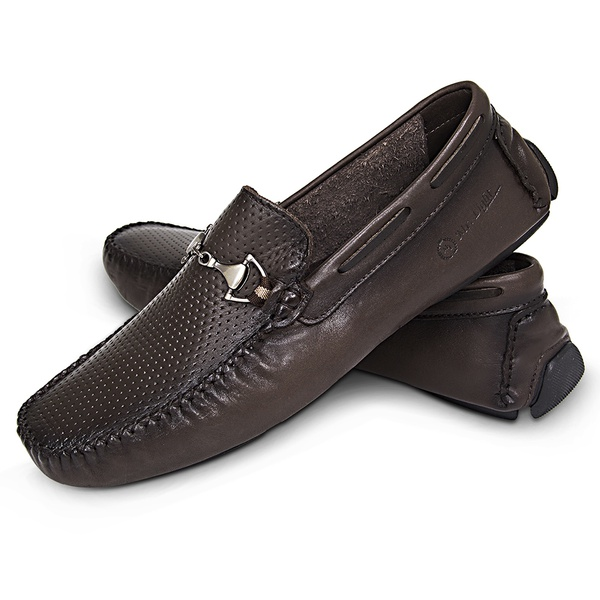 Mocassim Masculino Couro Latego Diamante Fumex Cafe Snake