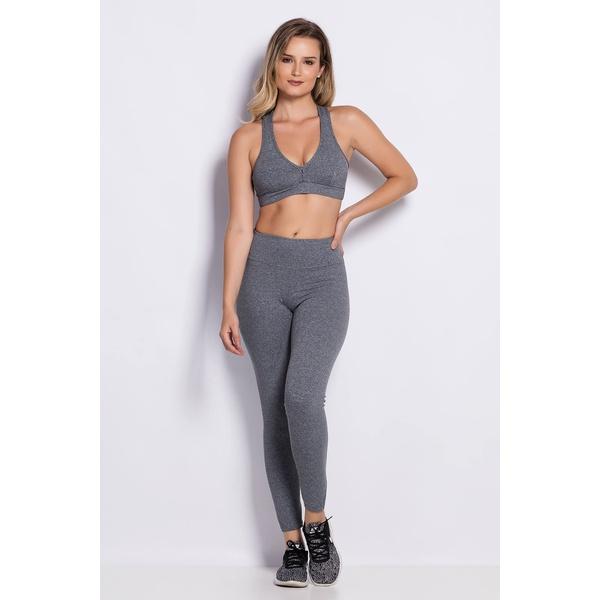 Calça Legging Fitness Comfort Cinza Mescla