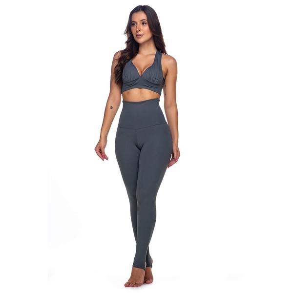Calça Legging Fitness Cintura Alta com Pezinho Cinza