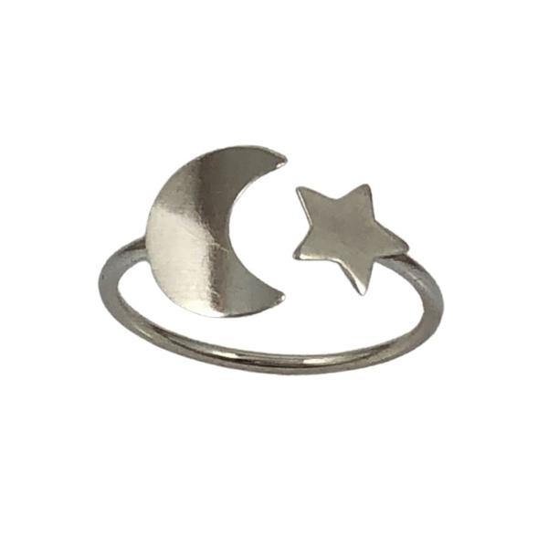Anel Ajustável Lua e Estrela em Prata 925