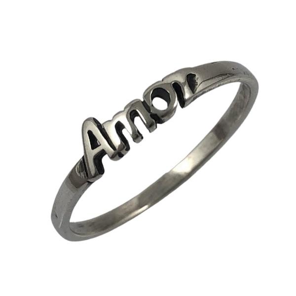 Anel Escrito Amor em Prata 925