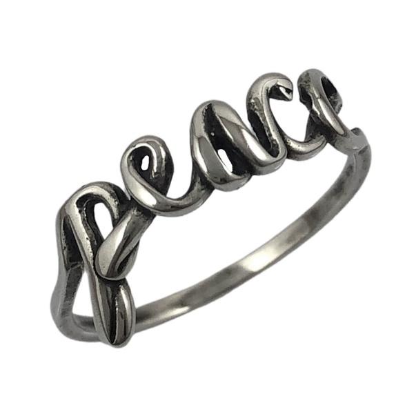Anel Escrito Peace em Prata 925