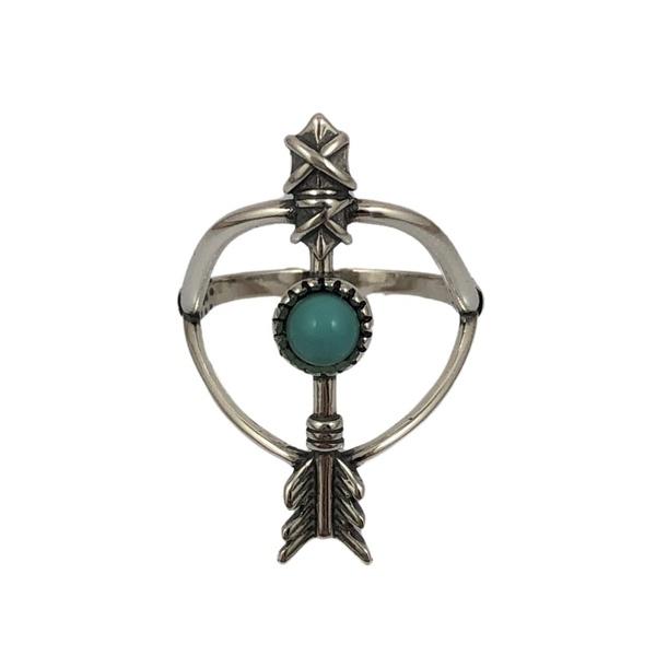 Anel Arco e Flecha com Pedra Turquesa em Prata 925