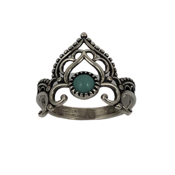 Anel Coroa com Pedra Turquesa em Prata 925
