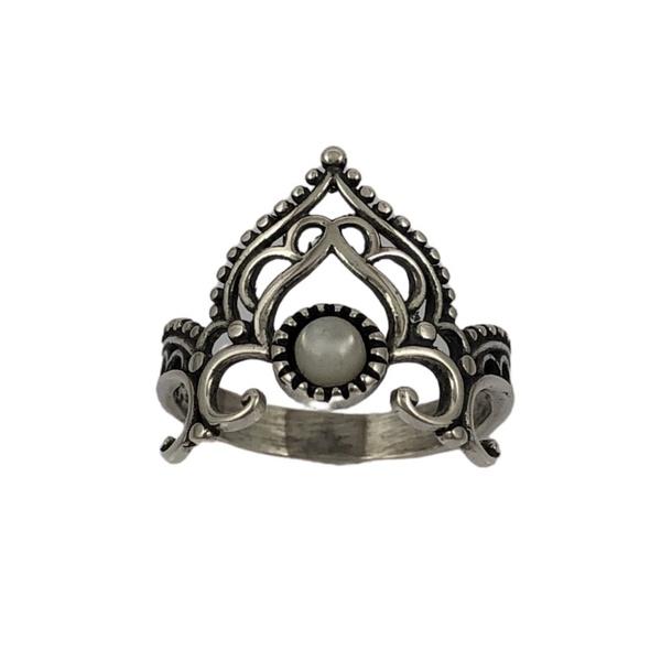 Anel Coroa com Pedra Madrepérola em Prata 925