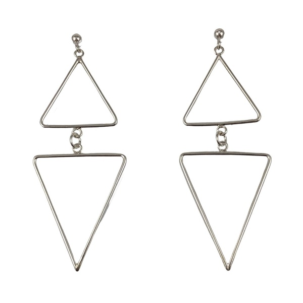 Brinco Geométrico Triângulos em Prata 925