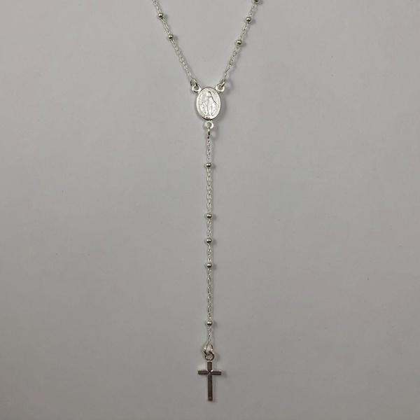 Gargantilha Terço 45 cm em Prata 925