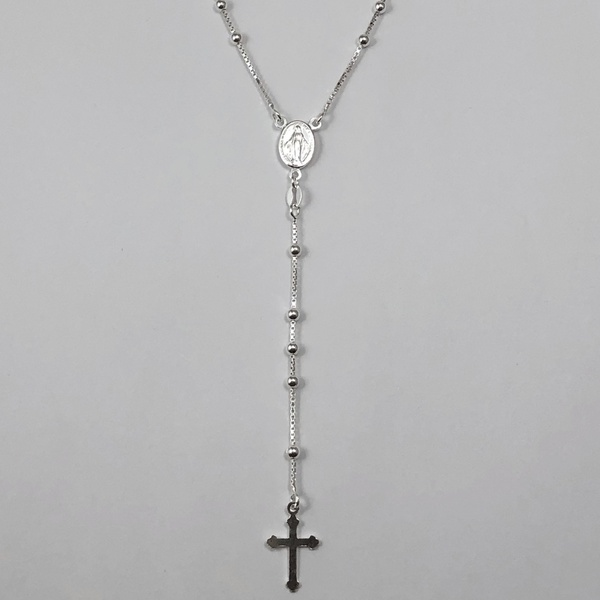 Gargantilha Terço 60 cm em Prata 925