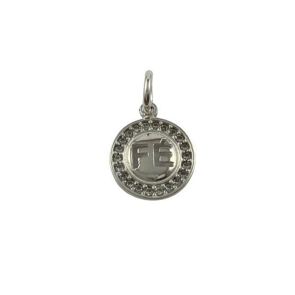 Pingente Medalha Fé com Zircônias em Prata 925
