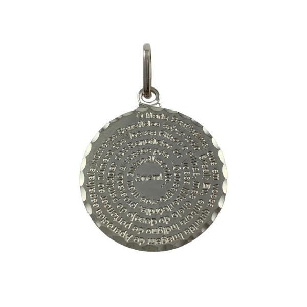 Pingente Medalha Oração de Maria em Prata 925