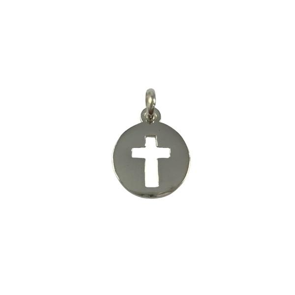 Pingente Medalha com Cruz em Prata 925