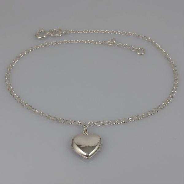 Tornozeleira com Coração em Prata 925