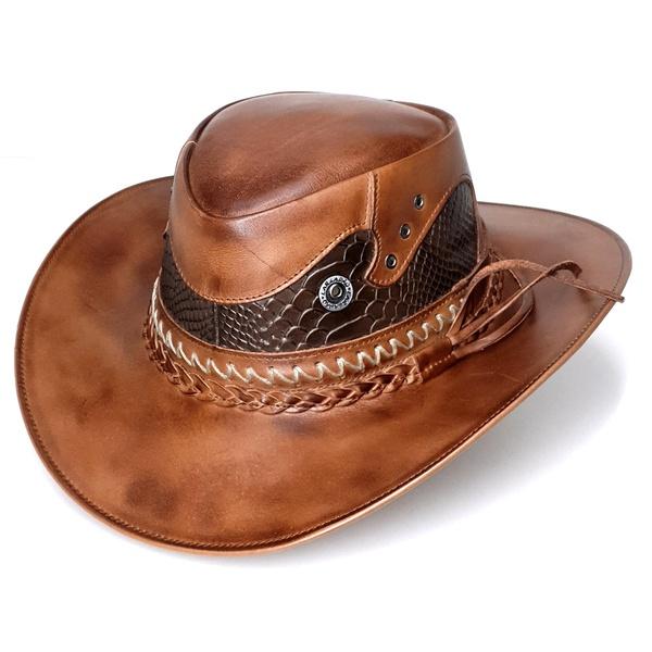 Chapéu em Couro Modelo Australiano - Cor Pinhão