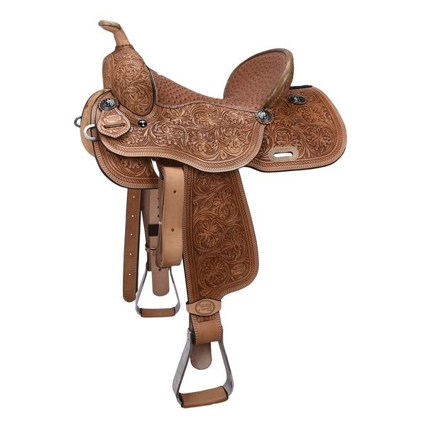 Sela de couro Três Tambores, Team Penning, Ranch Sorting, toda bordada Letícia Country 3300