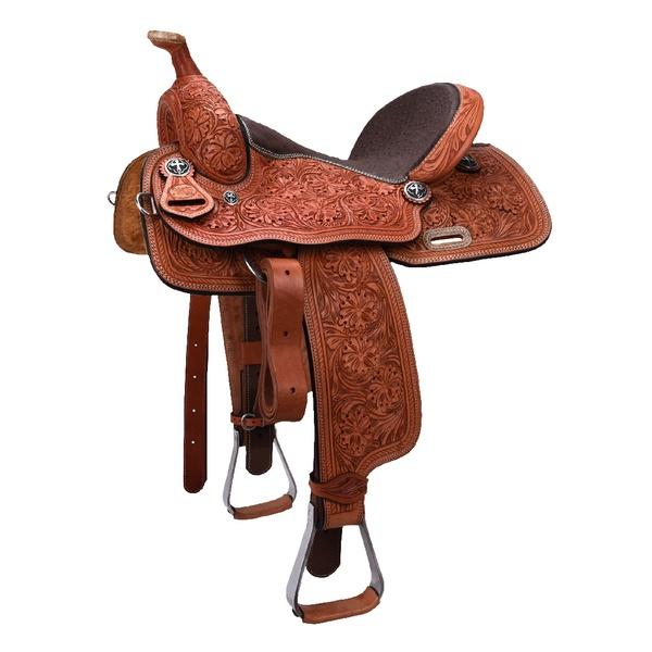 Sela de couro Três Tambores, Team Penning, Ranch Sorting, toda bordada Letícia Country 3304