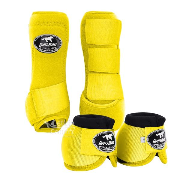 Kit Dianteiro Cloche e Caneleiras Amarelo Boots Horse