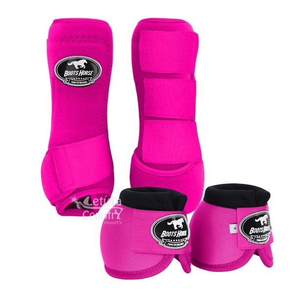 Kit Dianteiro Cloche e Caneleiras Color Pink Boots Horse 3706