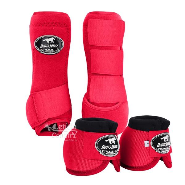 Kit Dianteira Cloche e Caneleiras Vermelho Boots Horse 3711