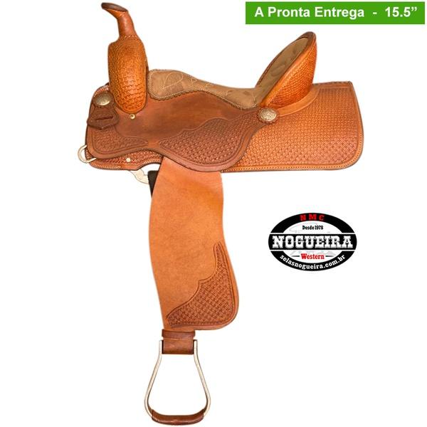 Sela de couro Três Tambores, Team Penning, Ranch Sorting, Bordada Parcial Nogueira 3694