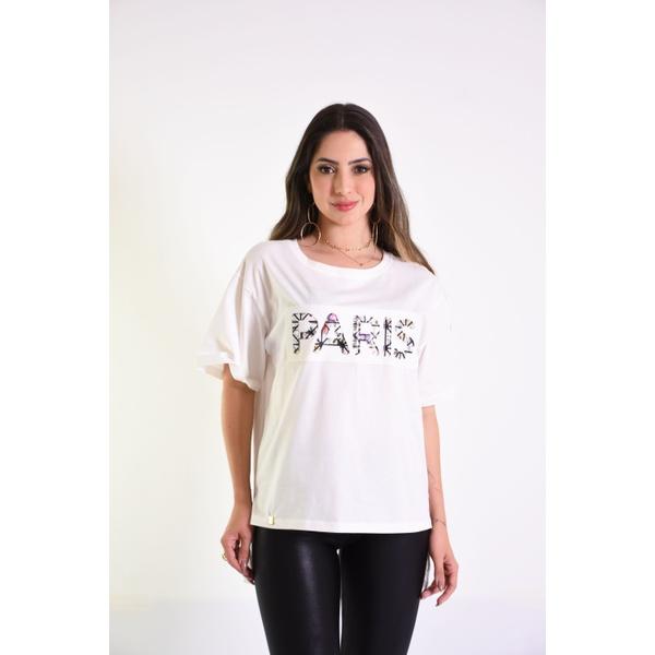 T-SHIRT APLICAÇAO PARIS - OFF WHITE