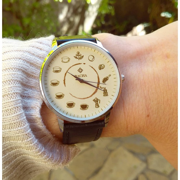 Relógio Ciclo do Café (Pulseira Preta)