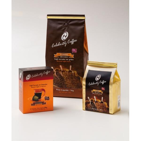 Kit de Café Celebrity Coffee - Torrado em Grãos 1Kg + Café Torrado e Moído 250g + Café em Cápsulas 10 und.