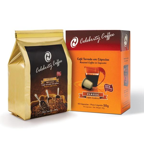 Kit de Café Celebrity Coffee - Torrado em Grãos 250g + Café em Cápsulas 10 und.