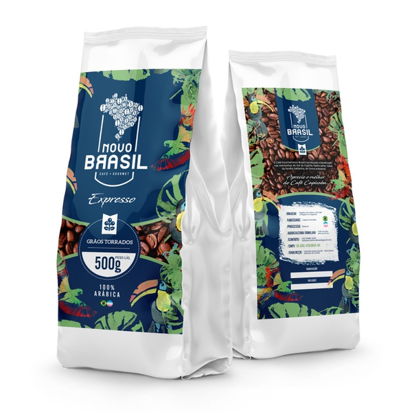 Café Gourmet Novo Brasil - Torrado em Grãos - Torra Média/Clara - 500g