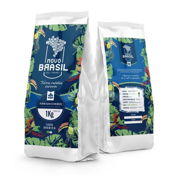 Café Gourmet Novo Brasil - Torrado e Moído - Torra Média/Escura - 1kg