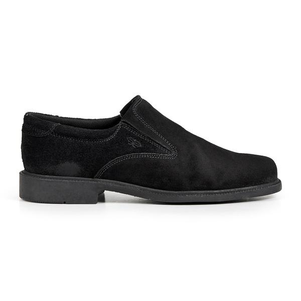 Sapato Calprado de Camurça Preto em Couro Legitimo